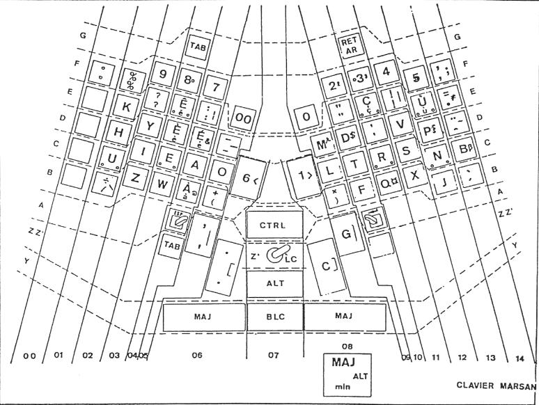 Patent drawing of the Marsan keyboard